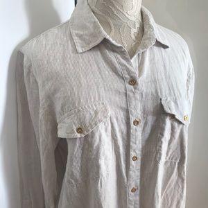 63a294f479 Ellen Tracy Tops - Ellen Tracy 100% Linen Shirt Dress sz Large